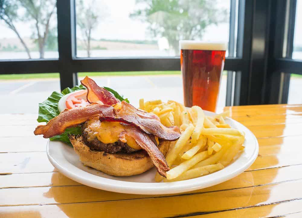 Bacon cheeseburger at Reads Landing Brewing Co