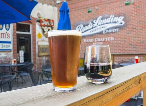 Beer on tap on the Patio at Reads Landing Brewing Co